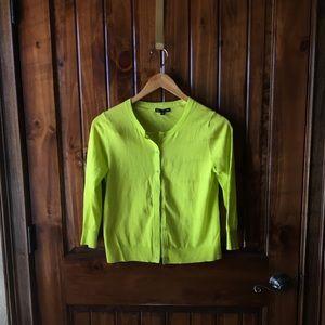 GAP Neon Green Yellow Button Up Cardigan